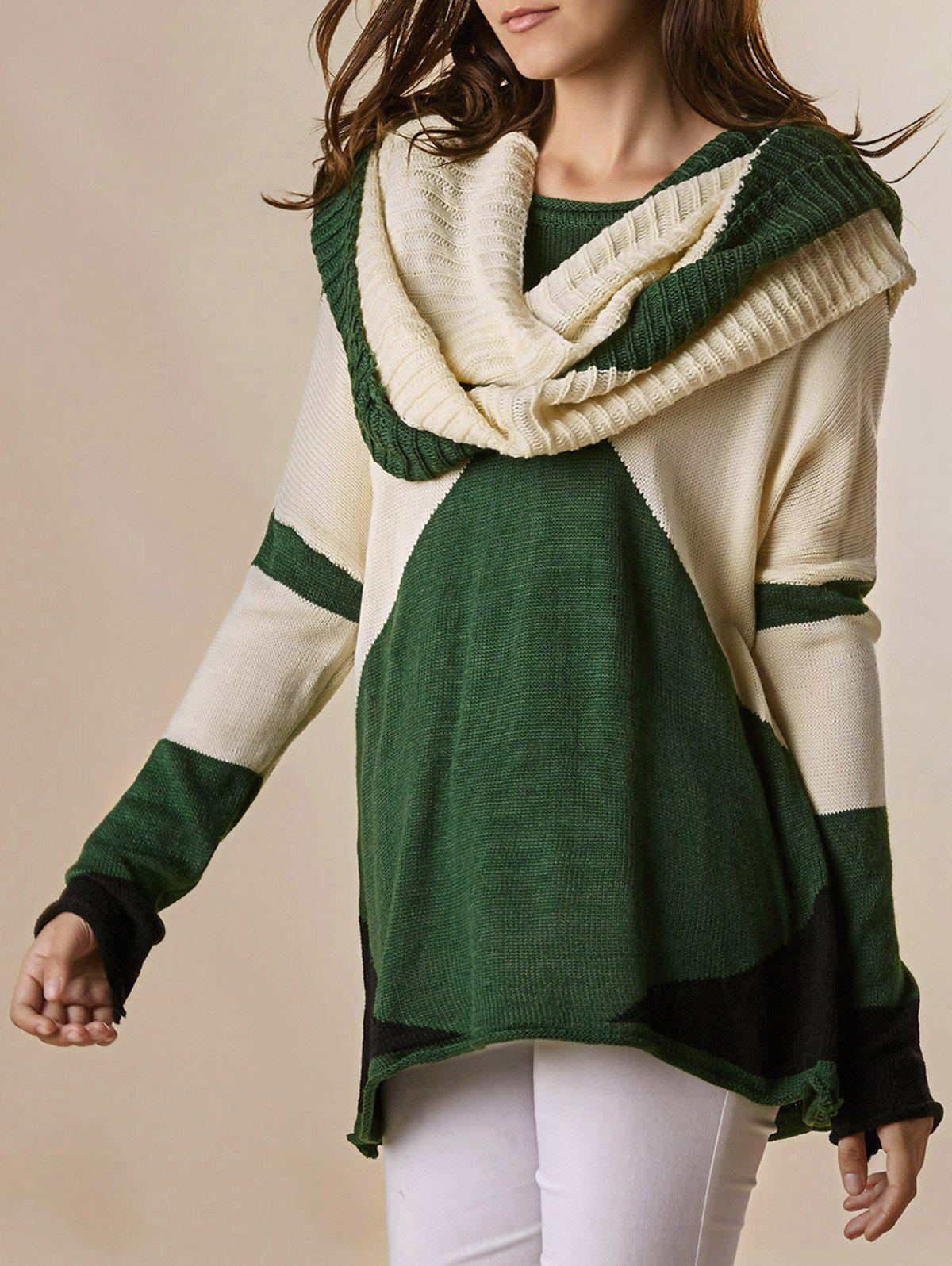 Color Block Scoop Collar Long Sleeve with Scarf Trendy Style Women's Sweater - GREEN ONE SIZE