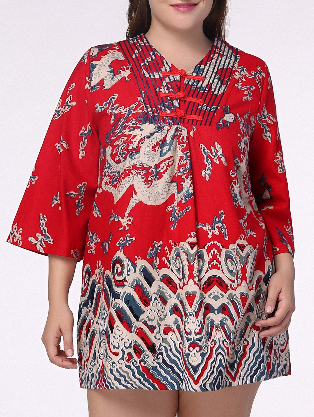 Ethnic Plus Size Chinese Dragon Print V Neck Women's Dress - RED 2XL