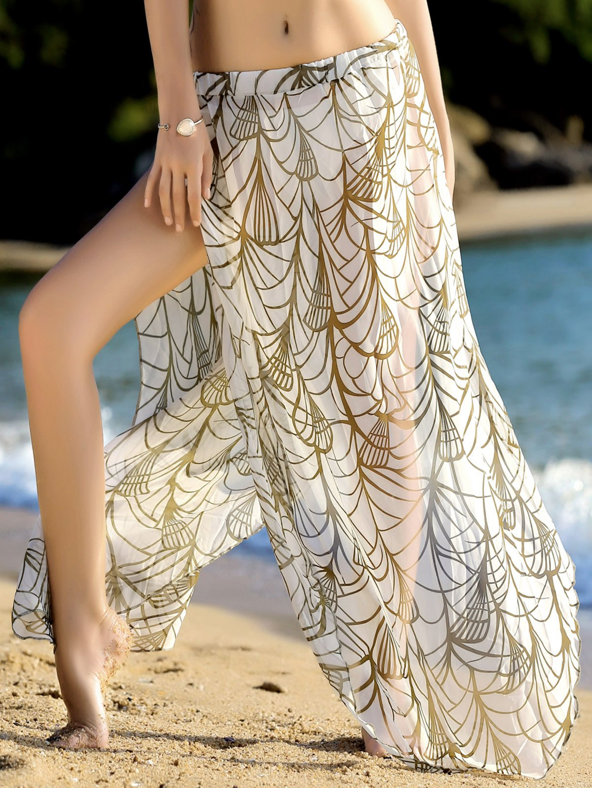 Stylish Women's Print High Slit Cover-Up Skirt - WHITE ONE SIZE(FIT SIZE XS TO M)
