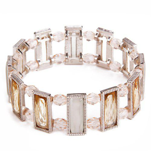 Faux Crystal Rectangle Elasticity Bracelet - SILVER