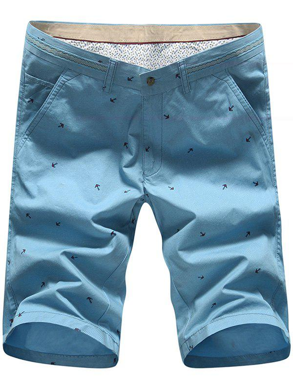 Men's Plus Size Star Printed Straight Leg Shorts - 38 BLUE