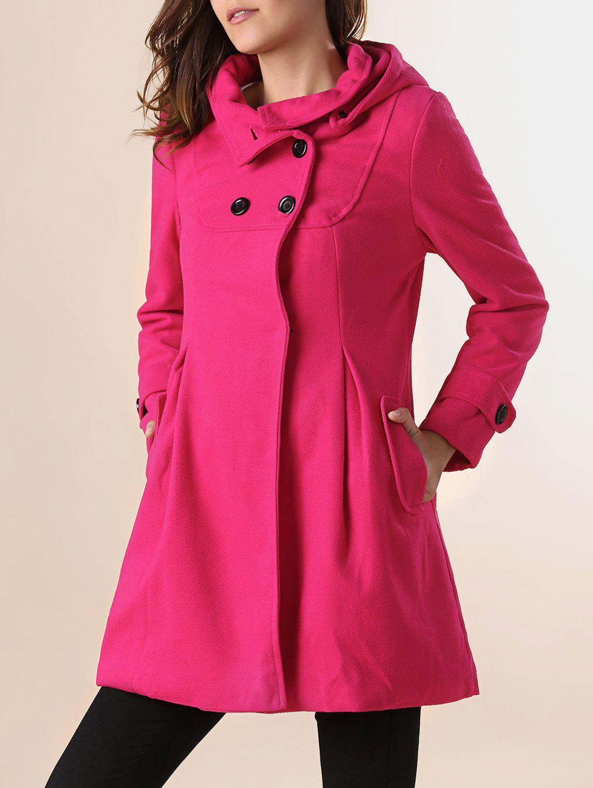 Stylish Hooded Collar Solid Color Double-Breasted Long Sleeve Woolen Coat For Women