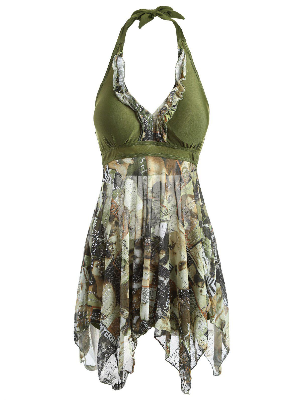 Halter Asymmetrical Figure Print Tankini Set - ARMY GREEN L