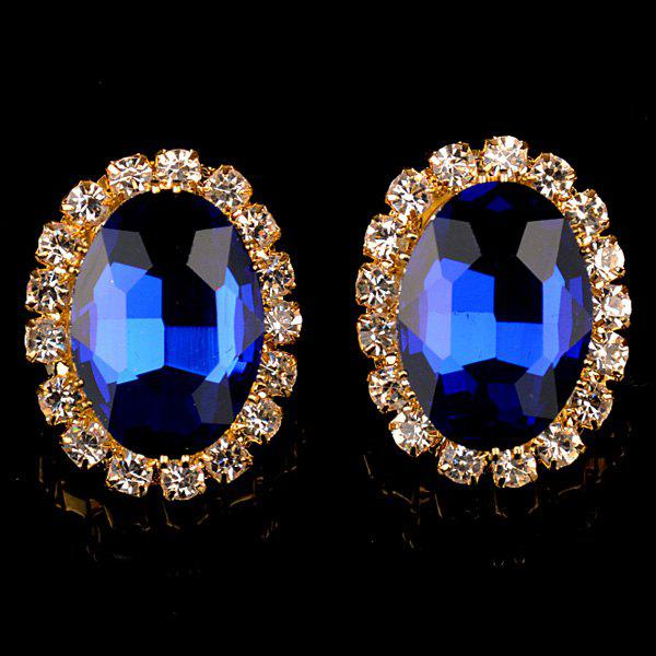 Pair of Charming Rhinestoned Oval Earrings For Women