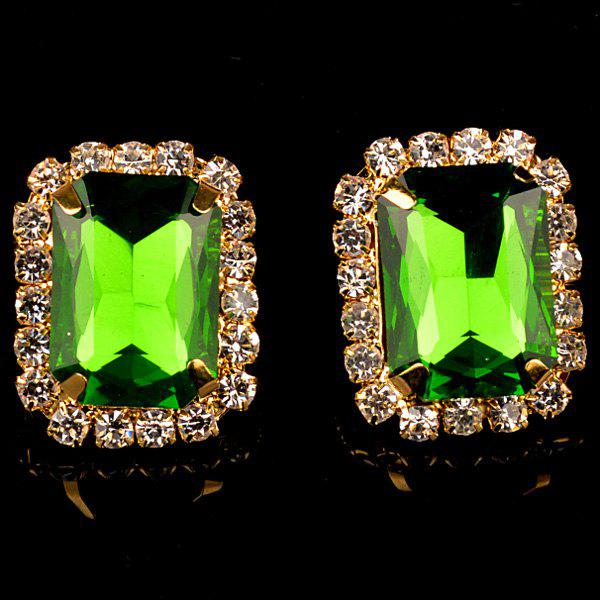 Pair of Chic Rhinestone Embellished Rectangle Earrings For Women - APPLE GREEN