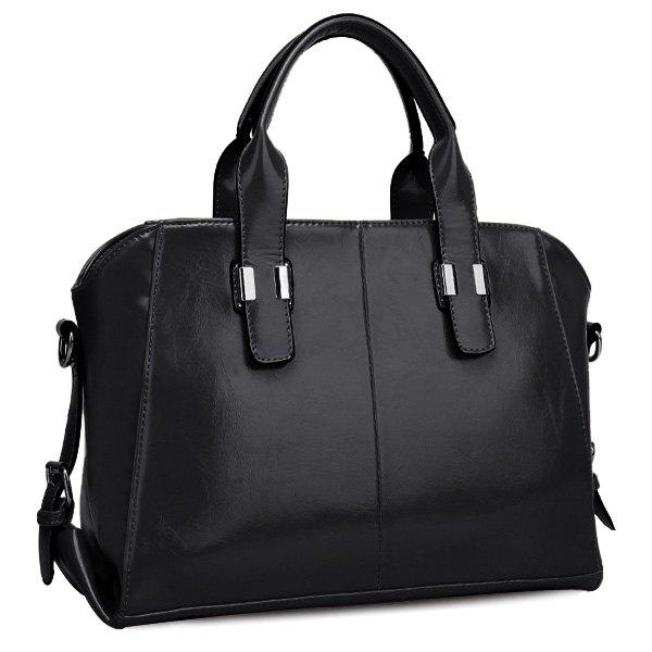 Trendy Buckles and PU Leather Design Women's Tote Bag - BLACK