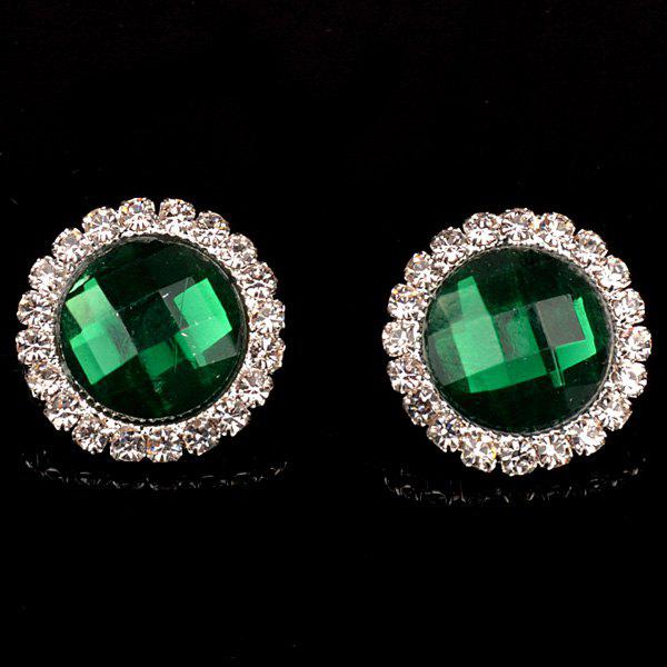 Pair of Chic Rhinestone Embellished Round Earrings For Women - GREEN