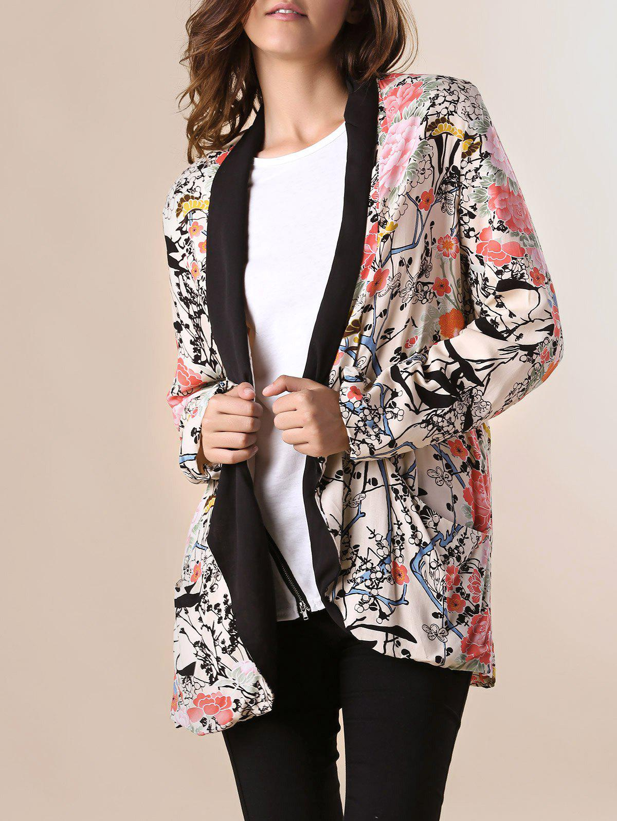 Peach Blossom Print Long Sleeve Tunr-Down Collar Trendy Style Women's Blazer peach cb 150e