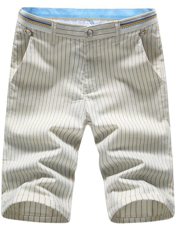 Men's Plus Size Stripes Printed Straight Leg Shorts - KHAKI 31