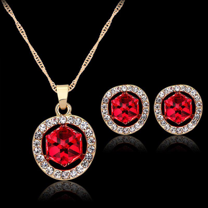 A Suit of Chic Style Rhinestone Necklace and Earrings For Women - RED