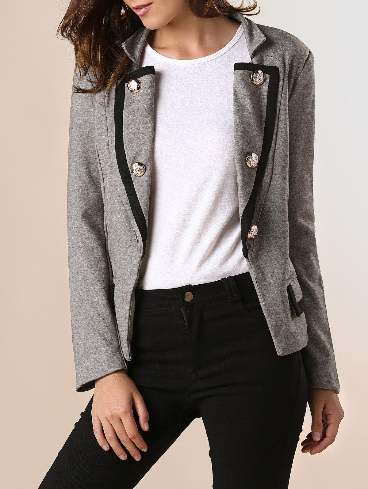 Ladylike Stand Collar Solid Color Double-breasted Long Sleeves Slimming Women's Blazer - GRAY S