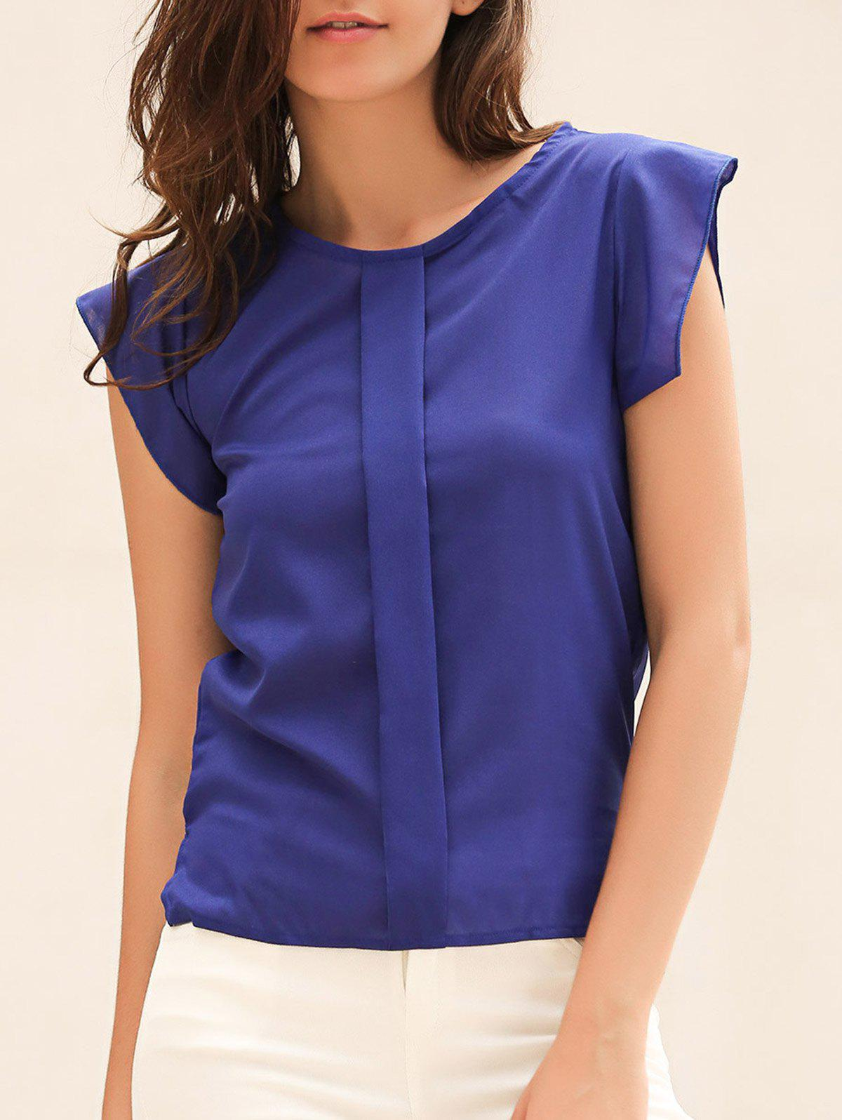 Candy Color Loose Leisure Women's Chiffon Short Tulip Sleeve Blouse Tops - BLUE L