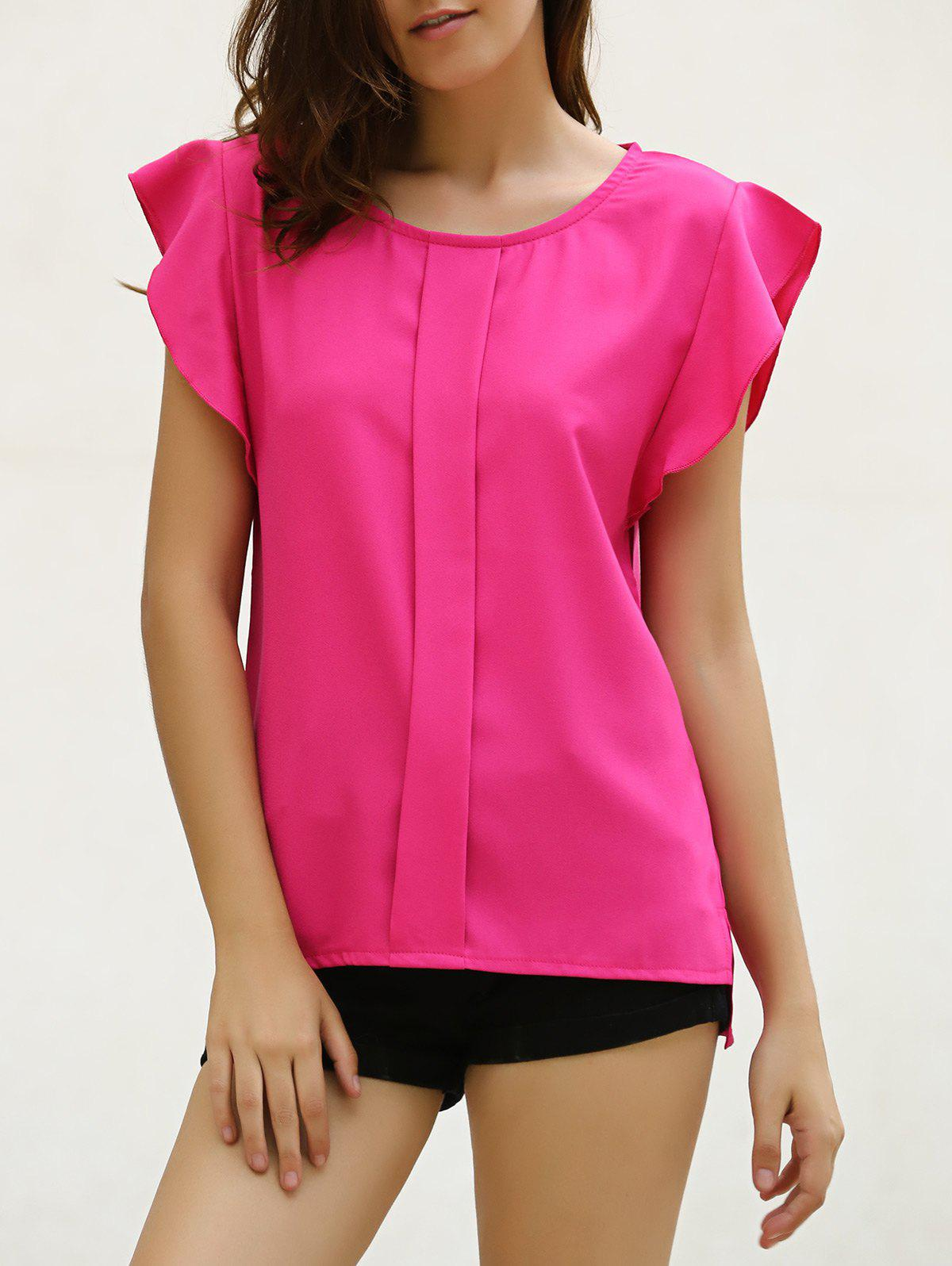 Candy Color Loose Leisure Women's Chiffon Short Tulip Sleeve Blouse Tops - RED L