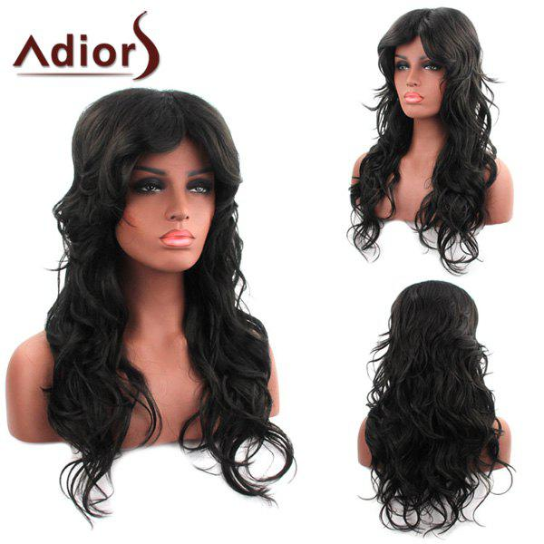Beautiful Black Inclined Bang Centre Parting Fluffy Curly Synthetic Capless Adiors Wig For Women - BLACK