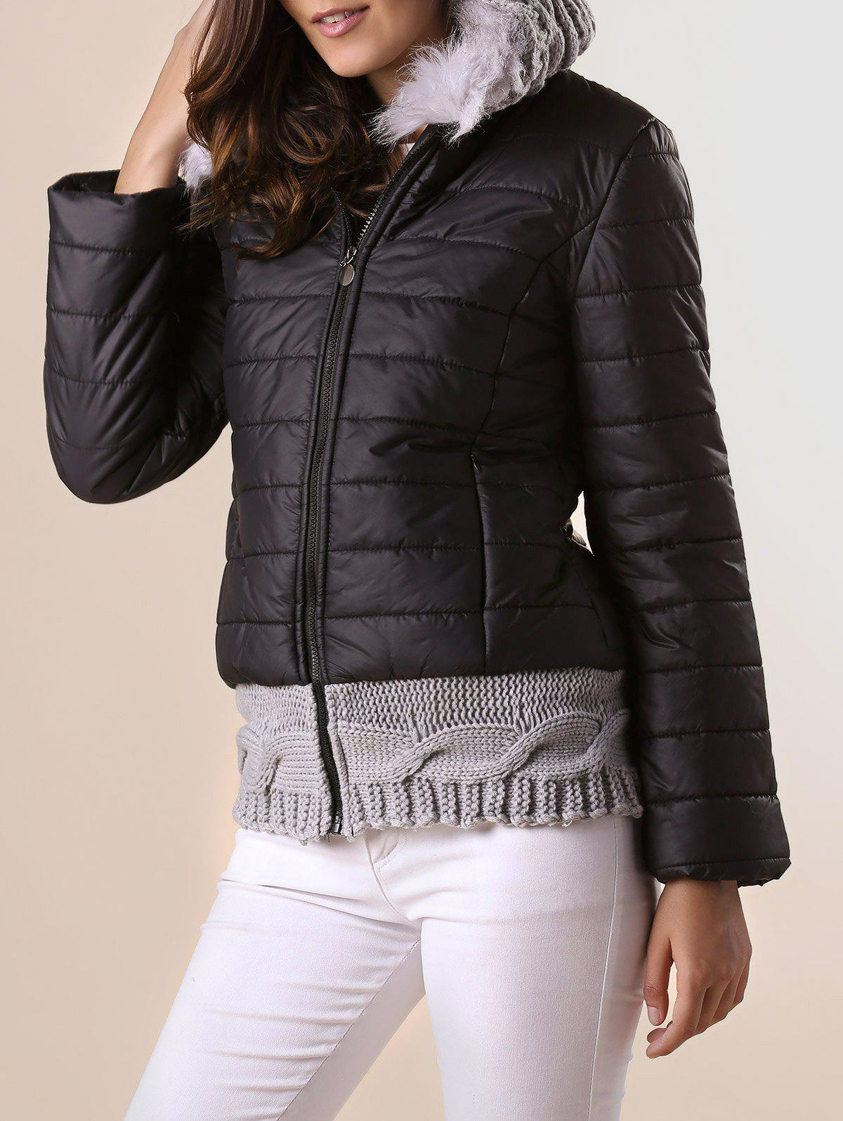 Stylish Hooded Knitted Splicing Long Sleeve Down Coat For Women - L BLACK