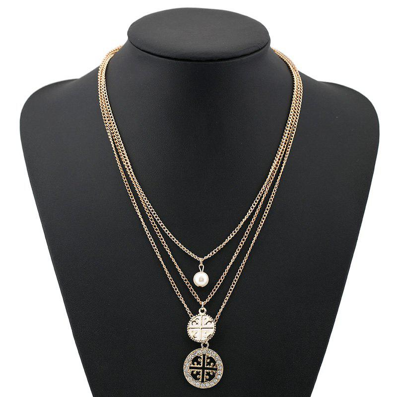 Delicate Multi-Layered Faux Pearl Round Hollow Out Rhinestone Necklace For Women