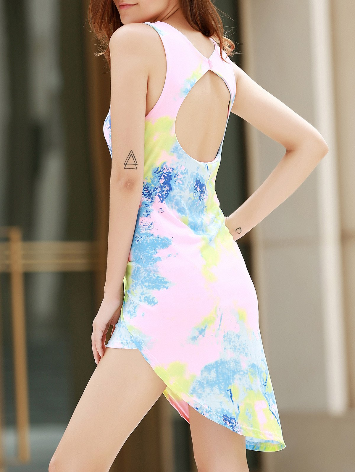 Alluring Plunging Neck Sleeveless Asymmetrical Printed Women's Dress - COLORMIX M