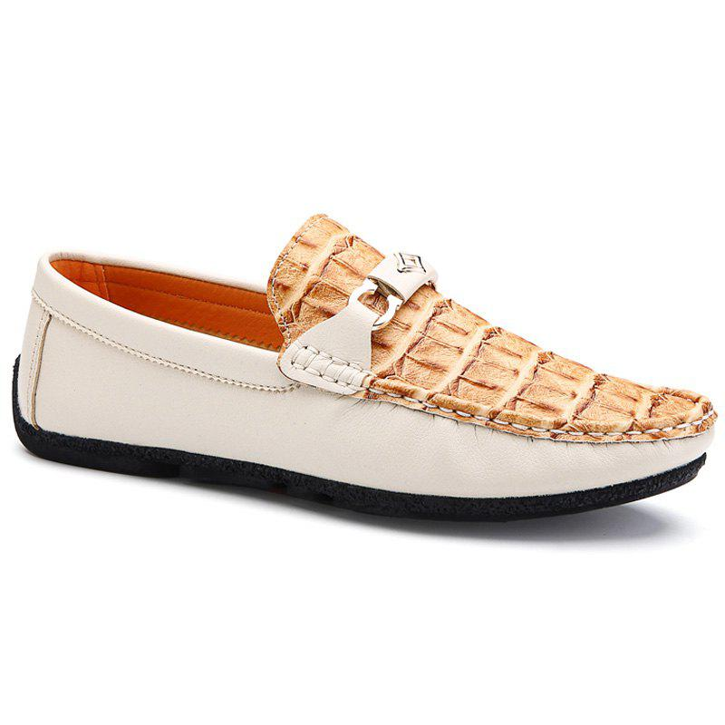 Stylish Embossing and Color Block Design Men's Loafers - OFF WHITE 43