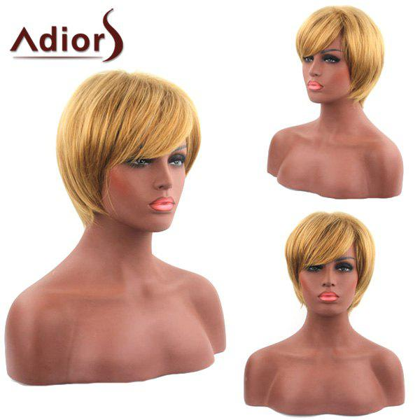 Sparkling Short Straight Synthetic Golden Inclined Bang Capless Adiors Wig For Women