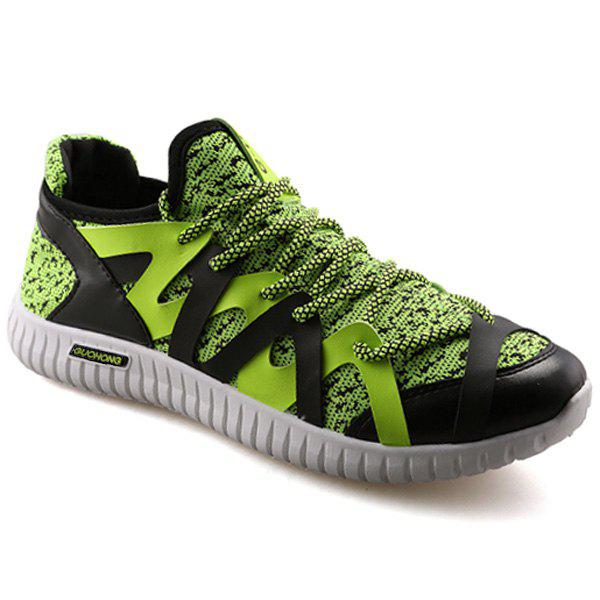 Leisure Color Block and Lace-Up Design Men's Athletic Shoes - GREEN 44