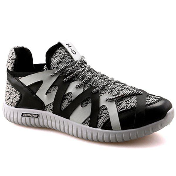 Leisure Color Block and Lace-Up Design Men's Athletic Shoes - BLACK/GREY 44