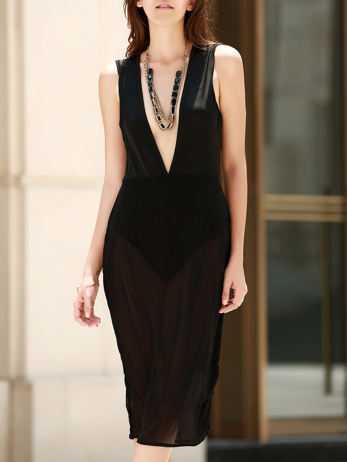 Alluring Womens See-Through Plunging Neck Sleeveless DressWomen<br><br><br>Size: L<br>Color: BLACK