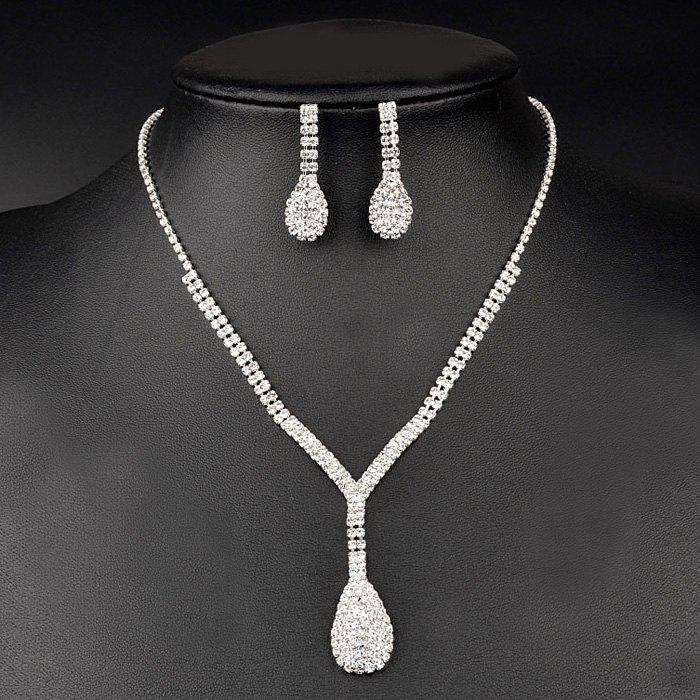 A Suit of Gorgeous Embellished Water Drop Wedding Jewelry Set For Women