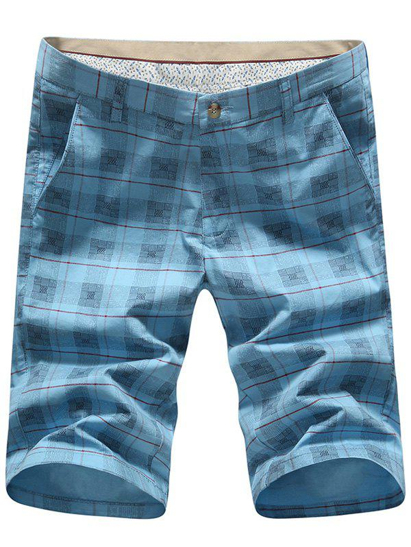 Men's Plus Size Plaid Printed Straight Leg Shorts