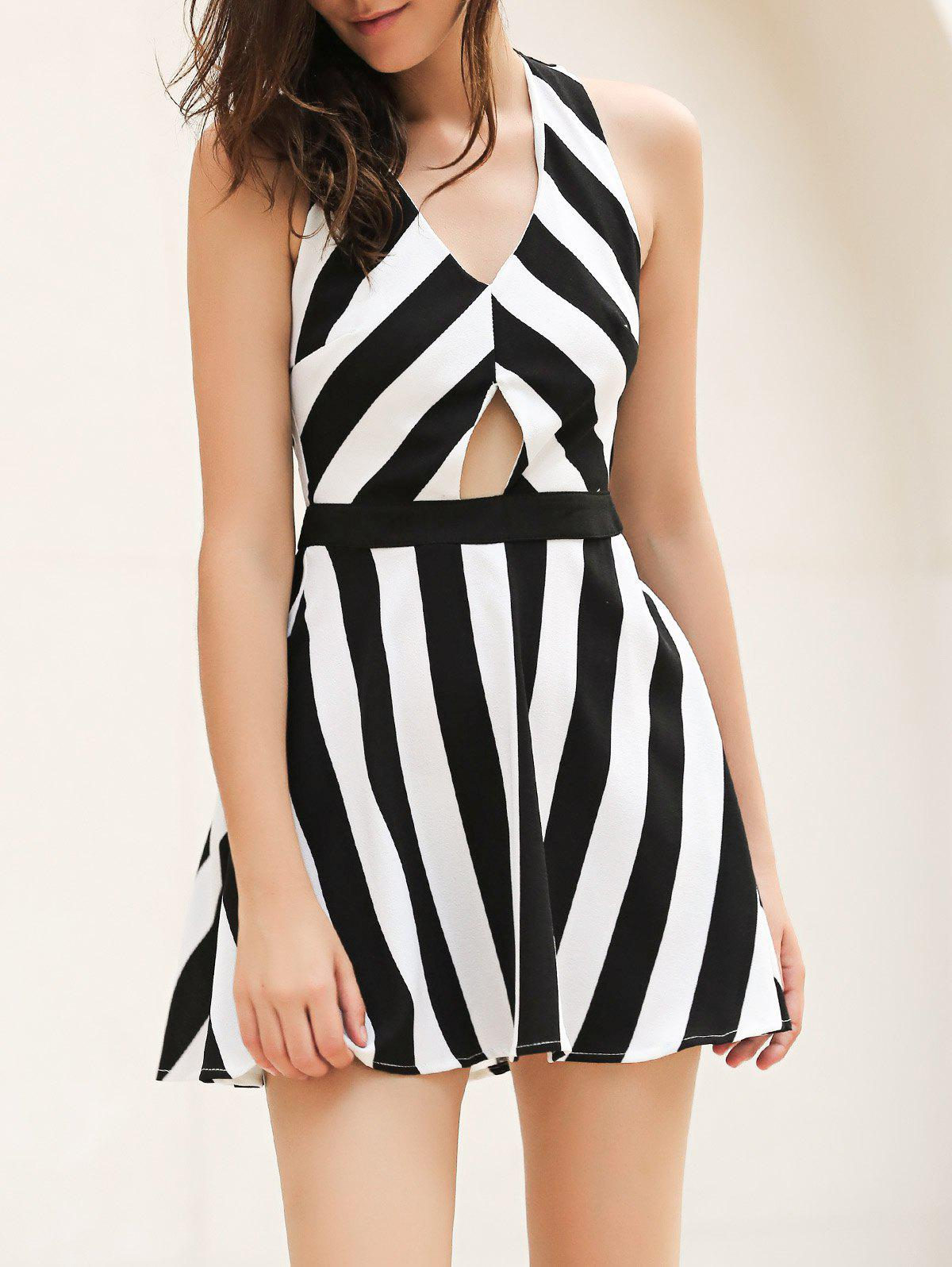 Vintage V Neck Striped Cut Out Mini Dress - WHITE/BLACK XL