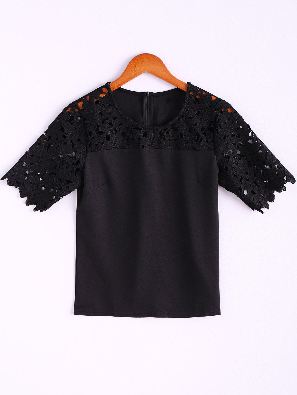 Crochet Flower Hollow Out Splicing Jewel Neck Solid Color Stylish Women's Blouse