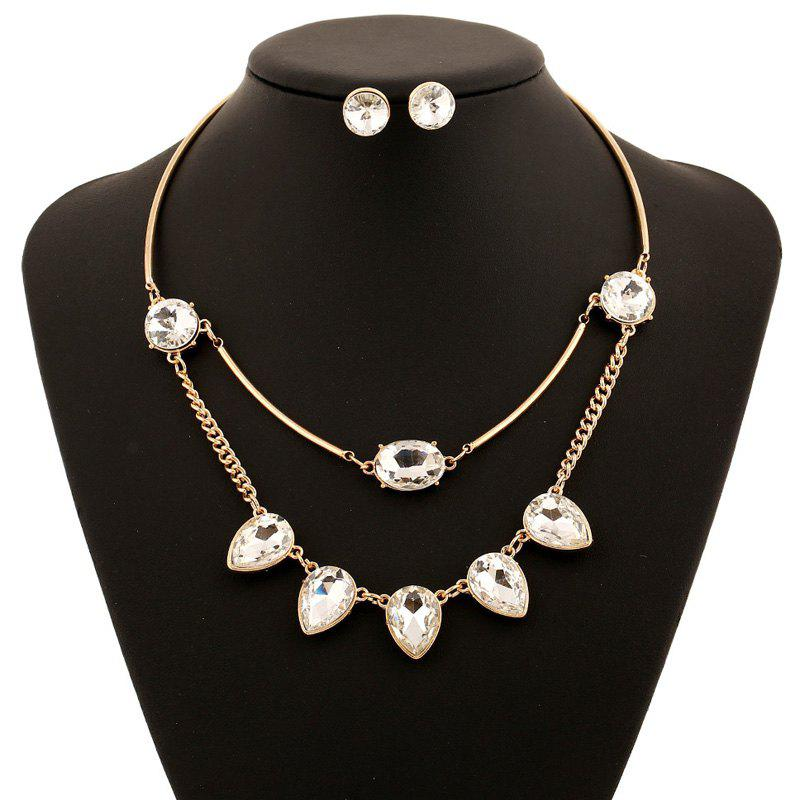 Faux Gemstone Water Drop Necklace and Earrings - WHITE