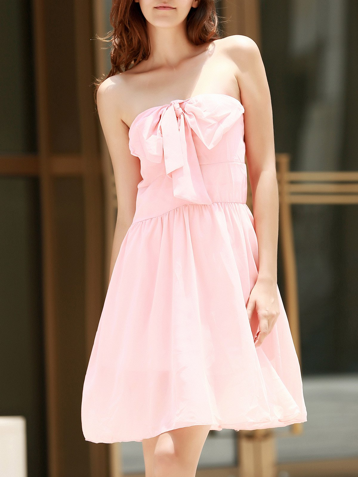 Sleeveless Strapless Bowknot Embellished Dress - PINK XL