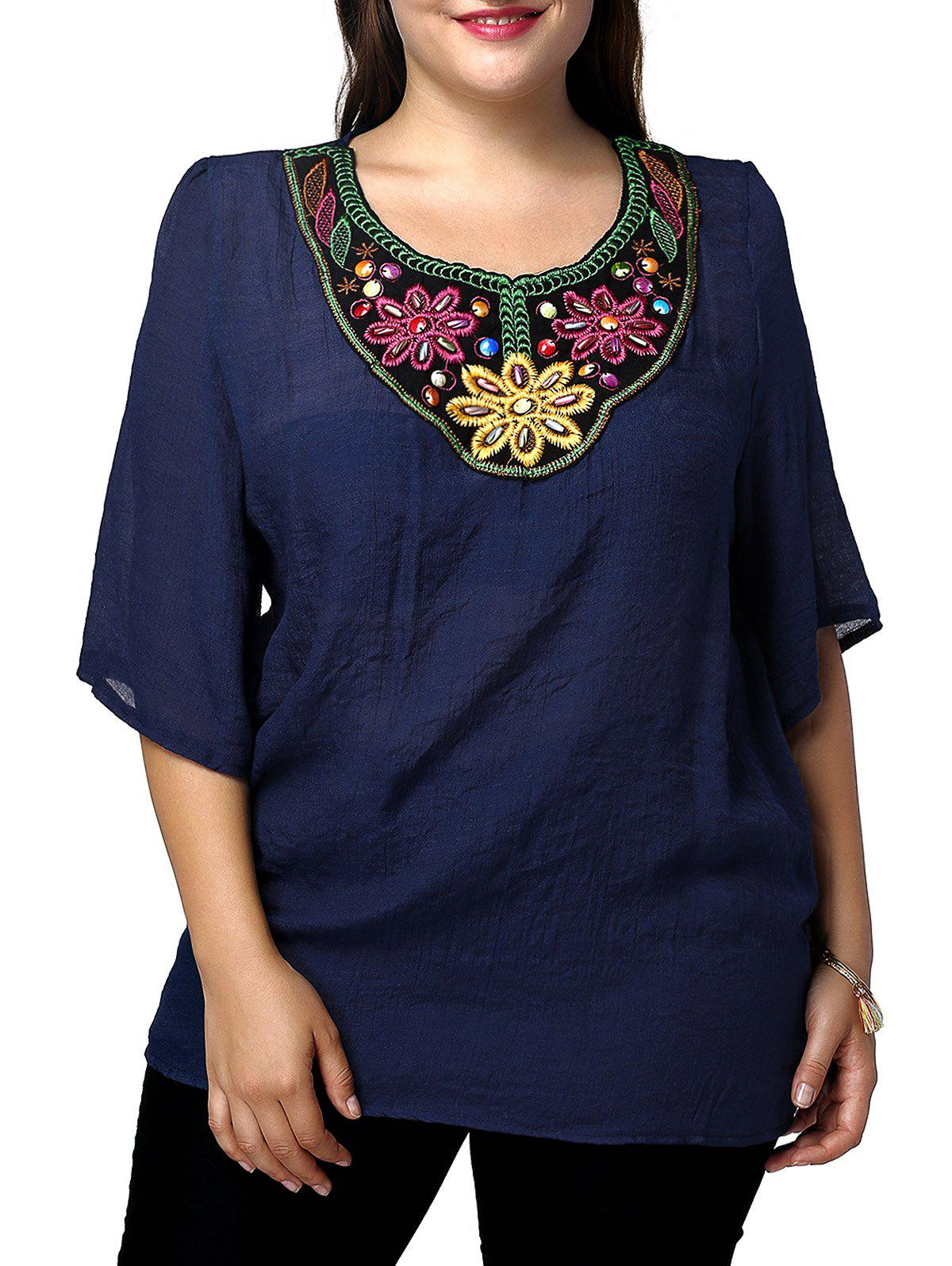 Beaded Embroidered Plus Size Top - PURPLISH BLUE 3XL