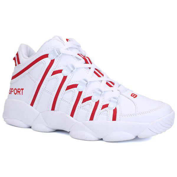 High Top Striped Sneakers - RED 44