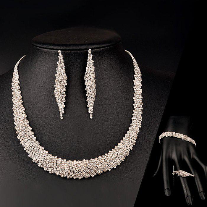 A Suit of Chic Rhinestone Geometric Necklace Earrings Ring and Bracelet For Women