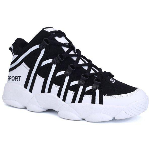 High Top Striped Sneakers - BLACK 42