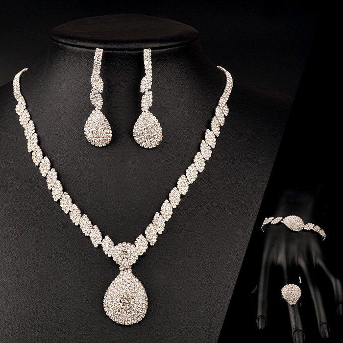A Suit of Chic Rhinestone Water Drop Necklace Earrings Ring and Bracelet For Women - SILVER ONE-SIZE