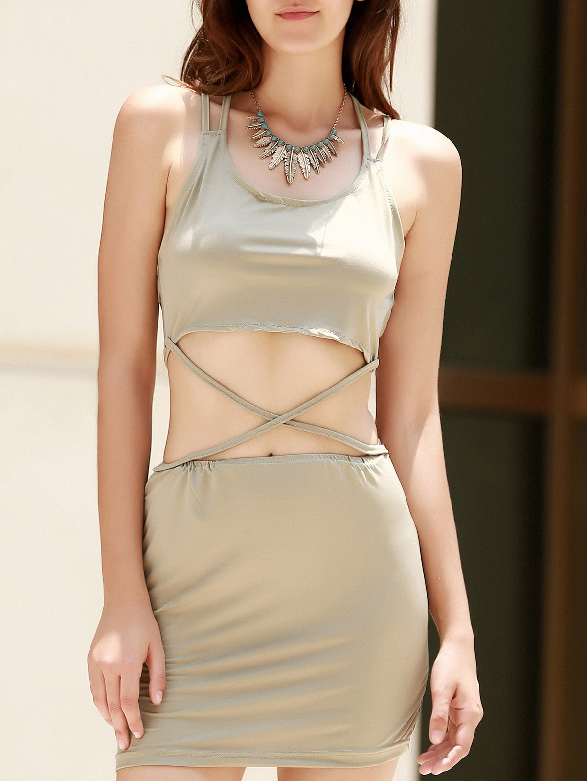 Alluring Scoop Collar Sleeveless Cut Out Solid Color Women's Club Dress stylish scoop collar sleeveless pure color cut out women s dress
