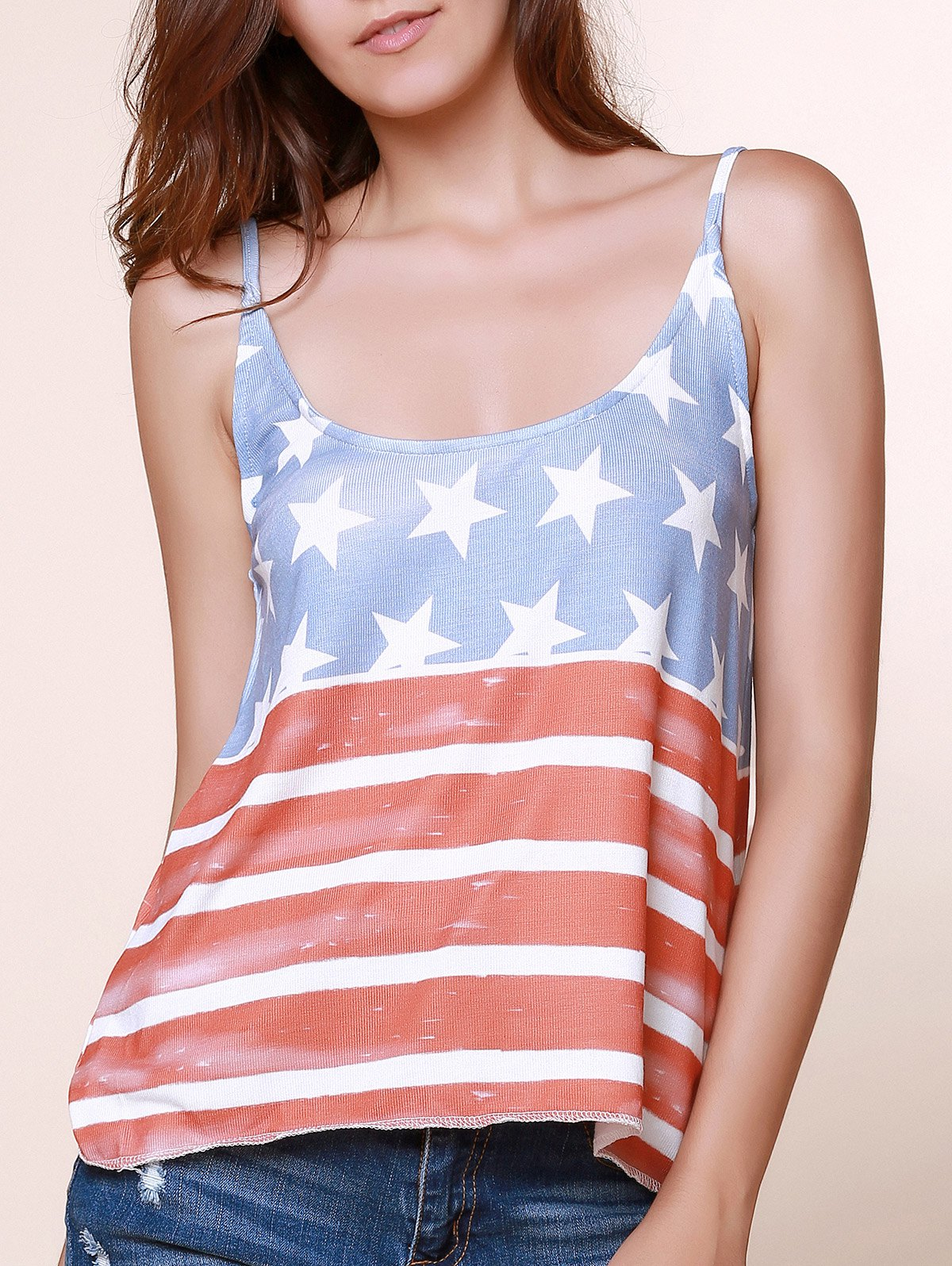 Stylish Spaghetti Straps American Flag Print Women's Tops - BLUE/RED S