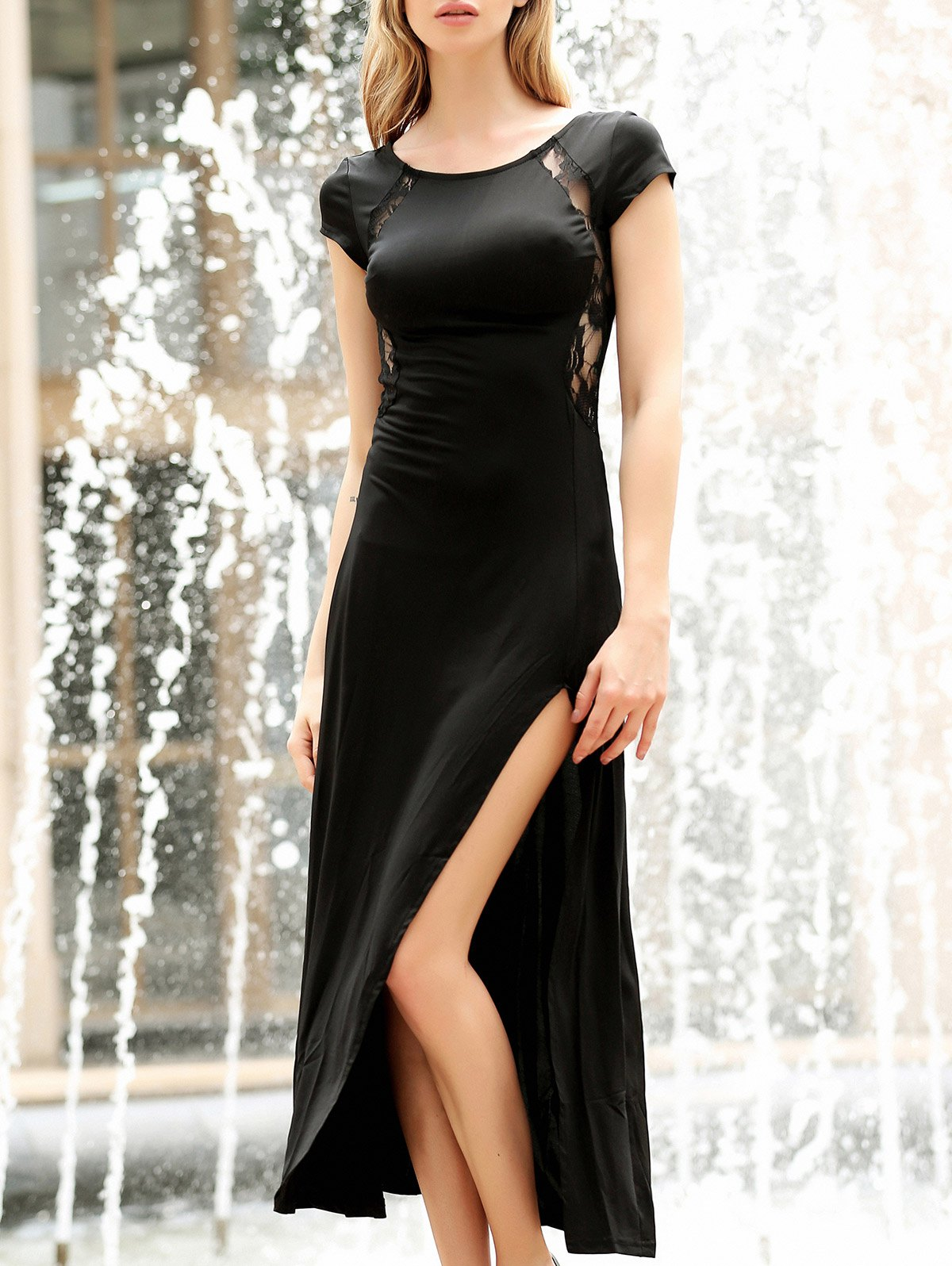 Women's Charming Solid Color Side Furcal Lace Splicing Sleeveless Bodycon Dress - BLACK L