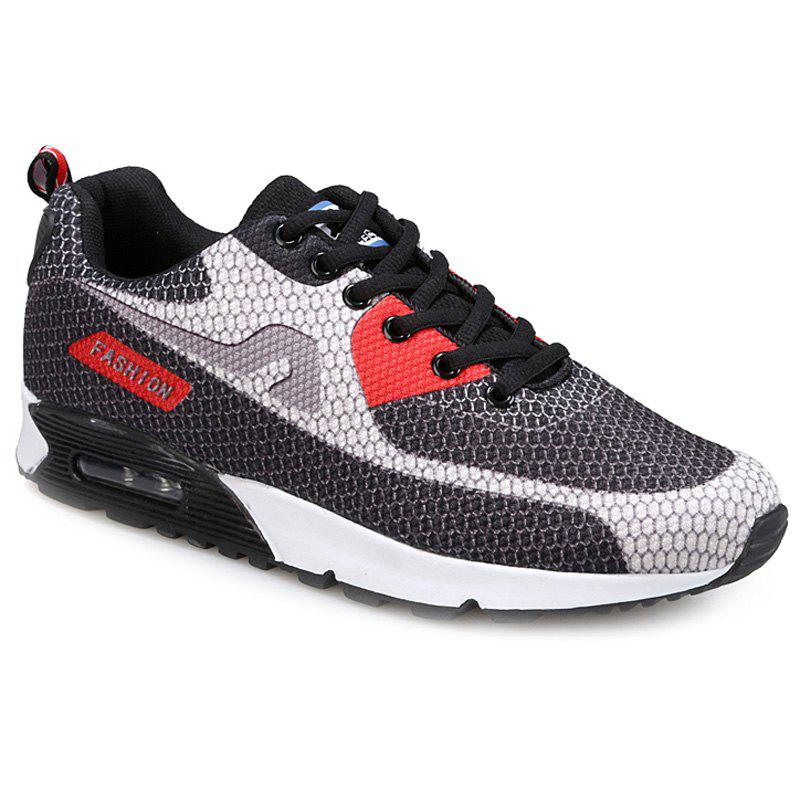 Trendy Color Block and Mesh Design Men's Athletic Shoes - GRAY 39