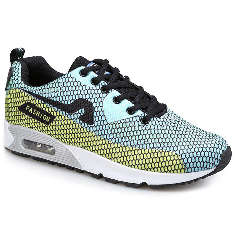 trendy color block and mesh design s athletic shoes