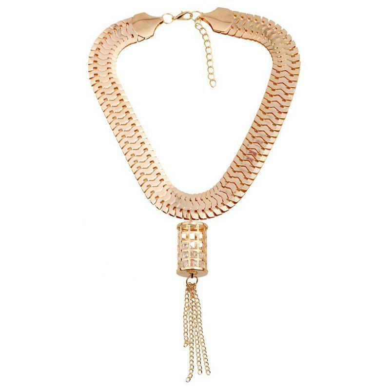 Hollow Out Cylinder Tassel Rhinestone Pendant Necklace - GOLDEN