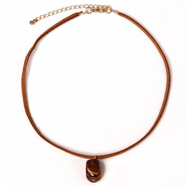 Adjustable Faux Leather Rope NecklaceJewelry<br><br><br>Color: BROWN