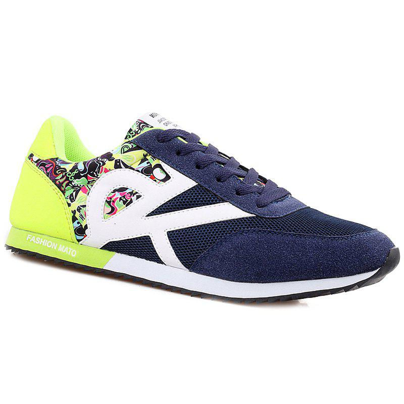 Stylish Splicing and Print Design Men's Athletic Shoes - BLUE/GREEN 43