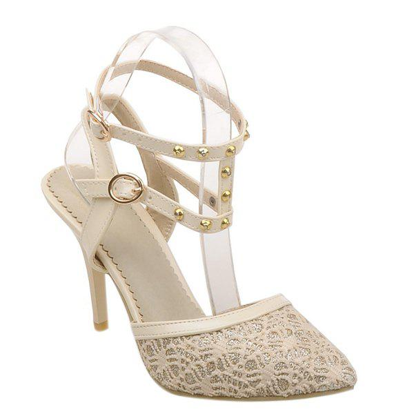Trendy Splicing and Double Buckle Design Women's Pumps - OFF WHITE 39