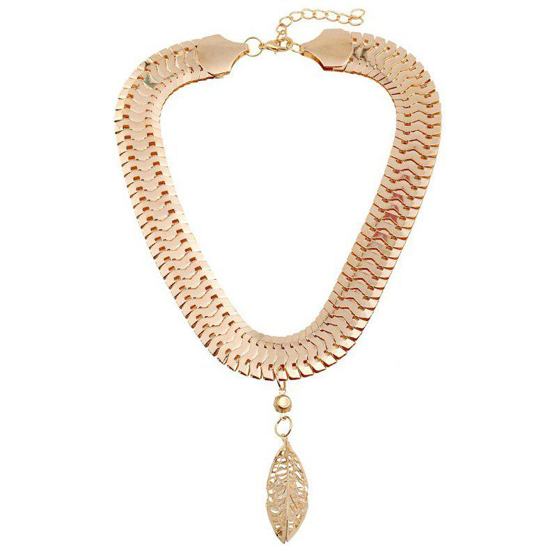 Statement Hollow Out Leaf Shape Rhinestone Pendant Necklace - GOLDEN