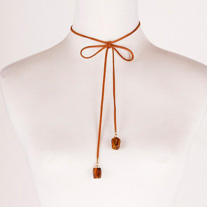 Faux Leather Rope Bowknot Necklace - BROWN