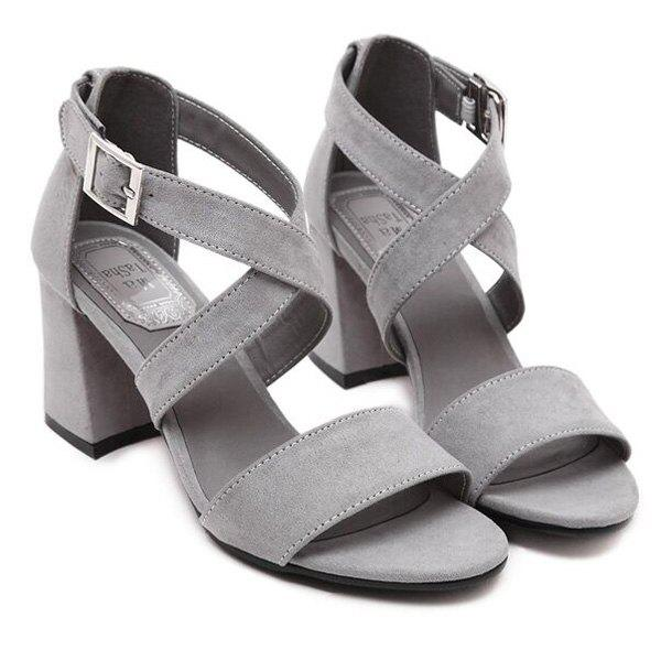 Elegant Suede and Cross Strap Design Women's Sandals - GRAY 39