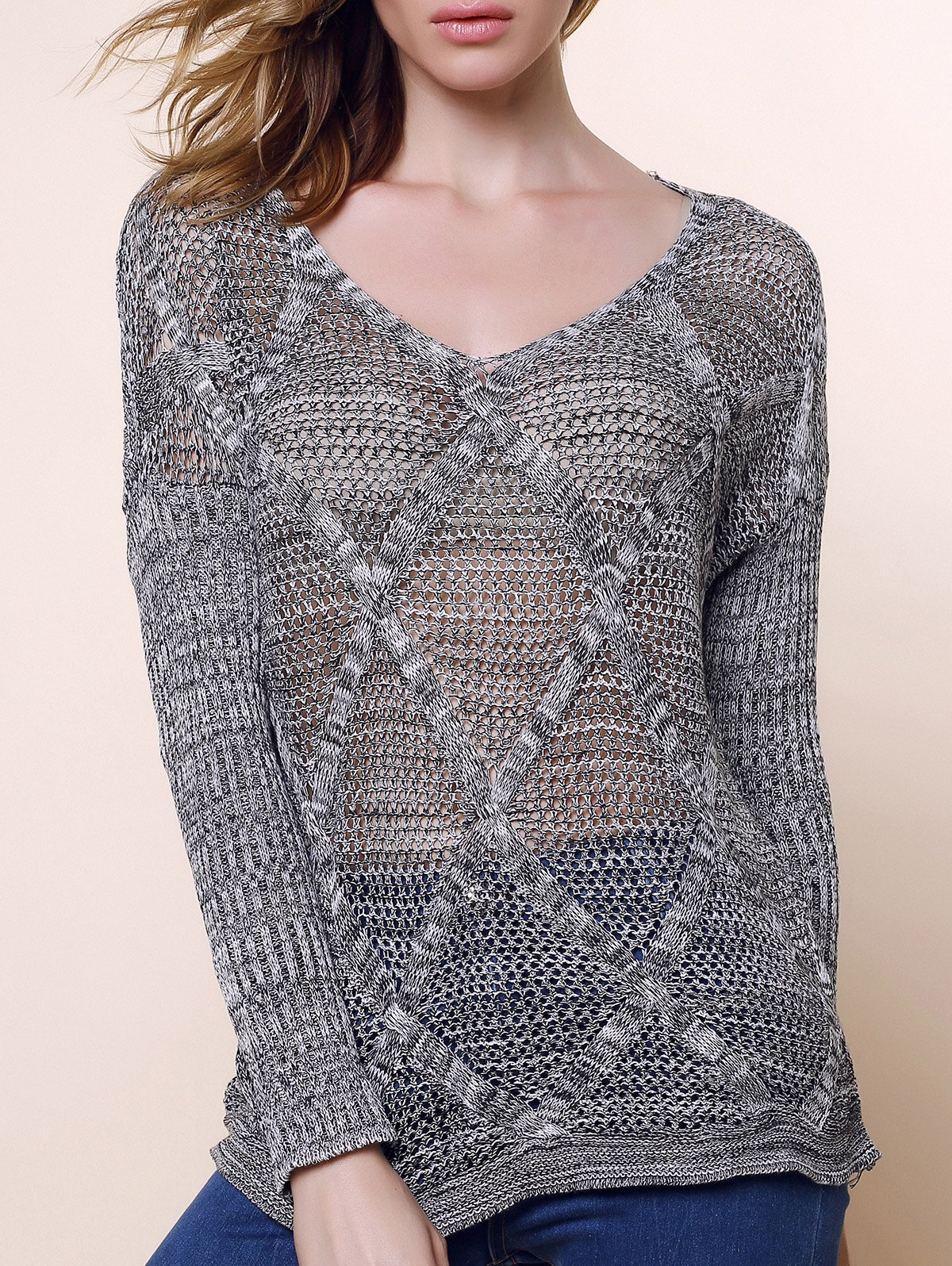 Casual Style V-Neck Acrylic Hollow Out Long Sleeve Women's Sweater